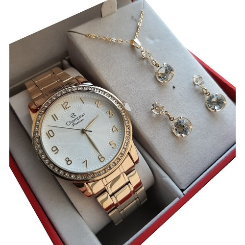 Relógio Champion Feminino Kit Semijóia CN28679W