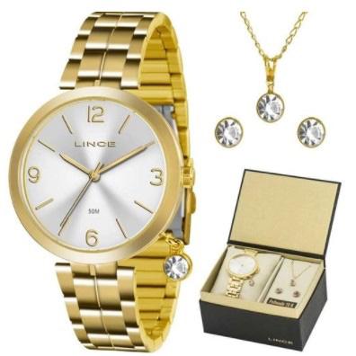 Relógio Lince Feminino Dourado Brinco+Colar LRG4458LKT71S2KX
