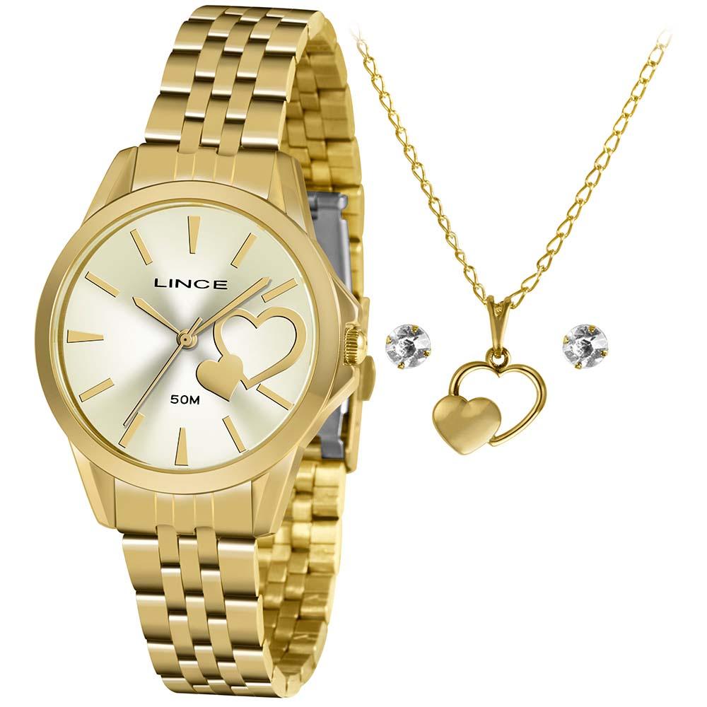 Relógio Lince Feminino Dourado Brinco+Colar LRGH153LKY56C1KX
