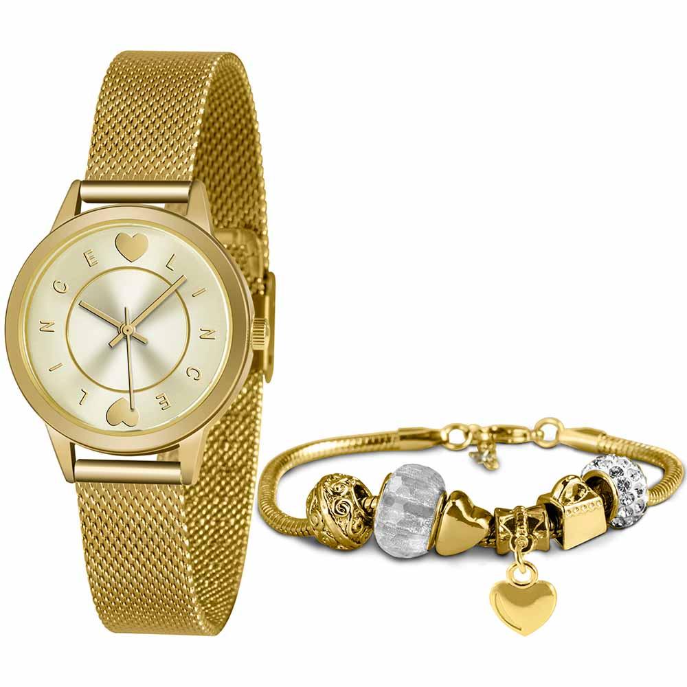 Relógio Lince Feminino Dourado + Pulseira LRGH149LKY48S1KX