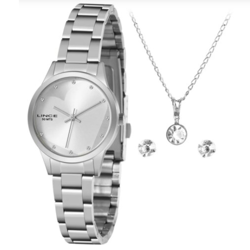 Relógio Lince Feminino Prata Brinco+Colar LRMH143LKZ02S1SX