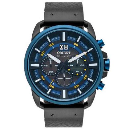 Relógio Orient Masculino Cronógrafo Preto/Azul LRTSCC037P1PX