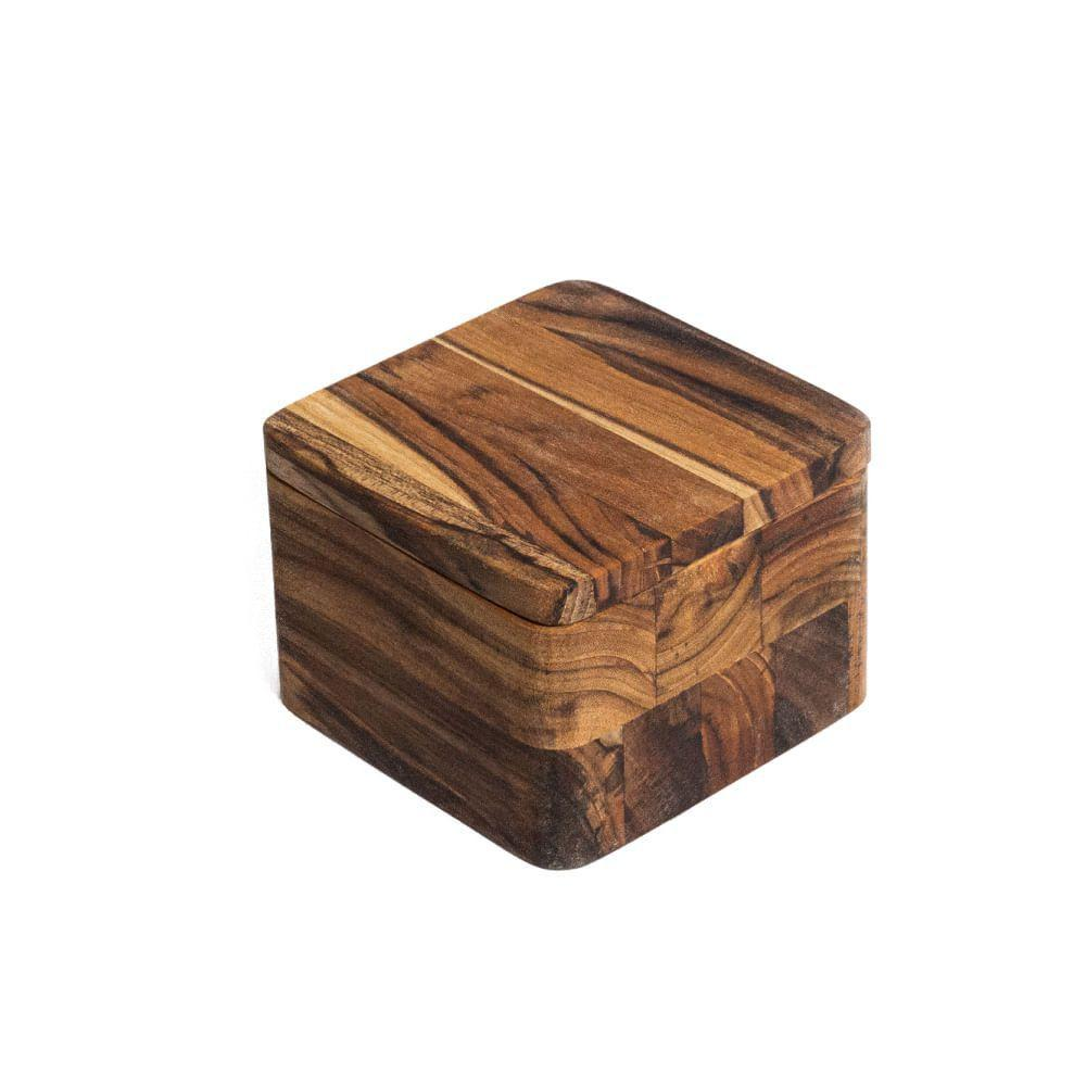 Saleiro de Madeira Teca 11,5x11,5x8,5cm Monte Novo