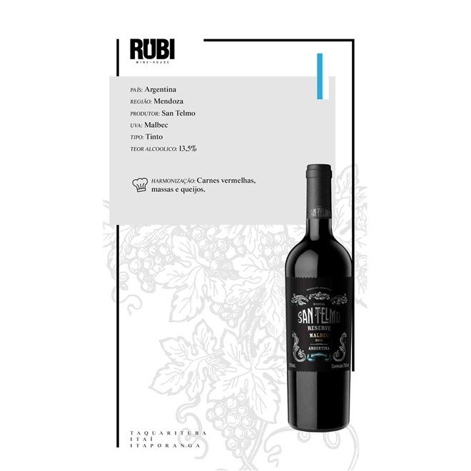 Vinho Tinto Argentino San Telmo Malbec Reserva 750ml 2019