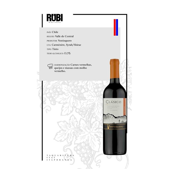 Vinho Tinto Chileno Ventisquero Classico Carmenere2019 750ml