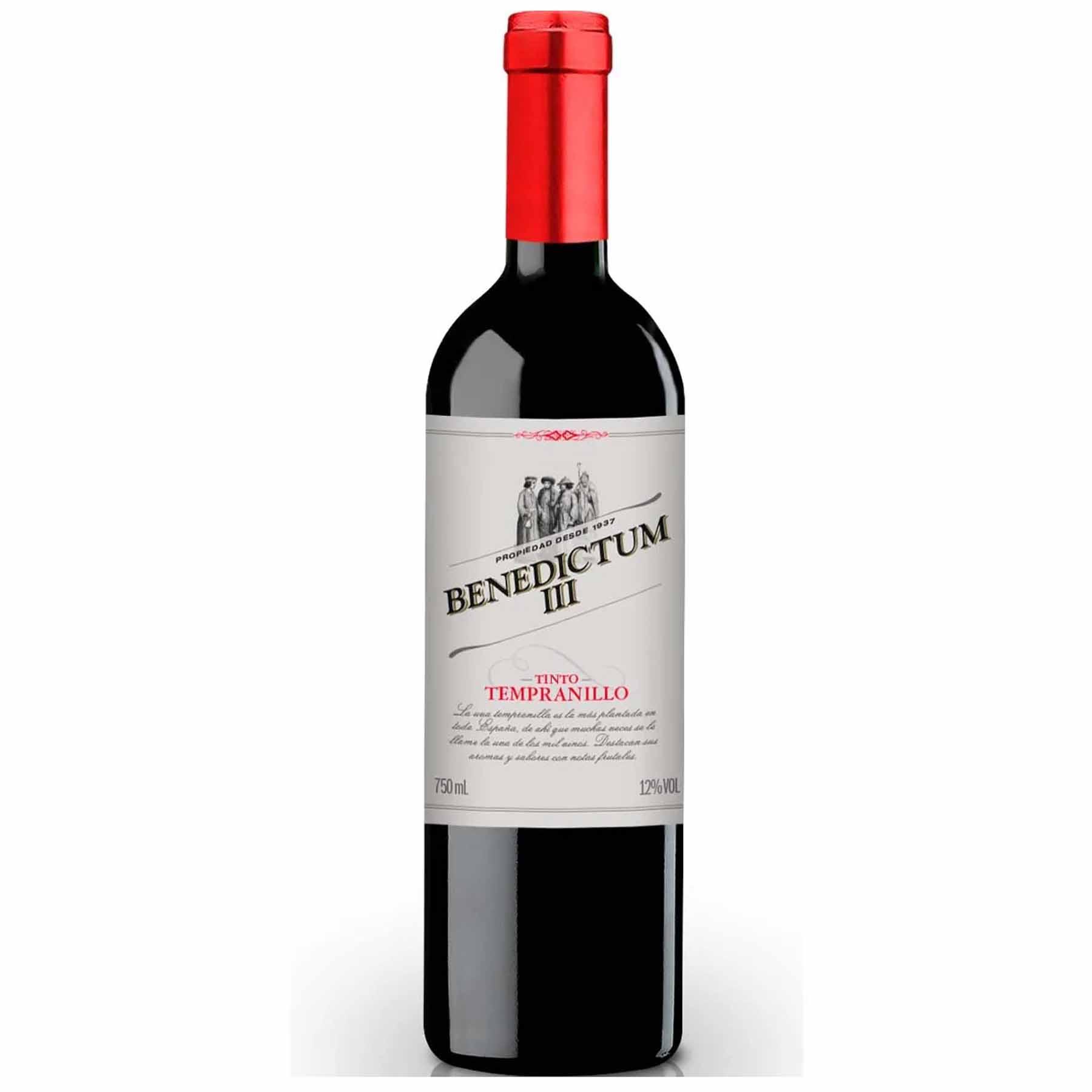 Vinho Tinto Espanhol Benedictum III Tempranillo 2017 750ml