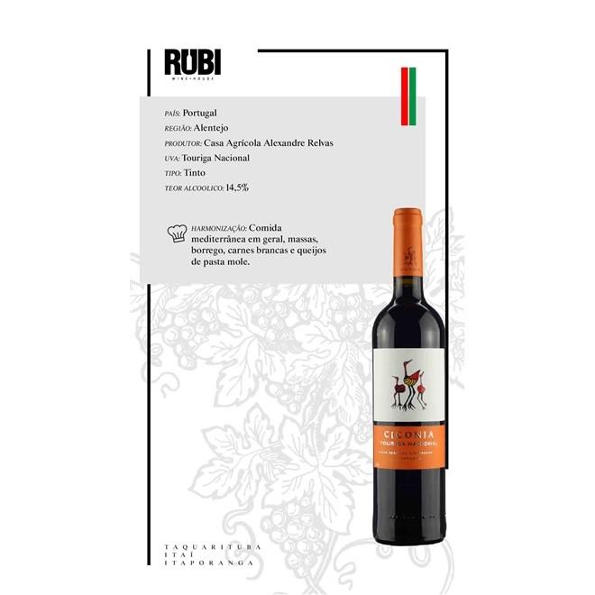Vinho Tinto Português Ciconia Varietal Touriga Nacional 750ml