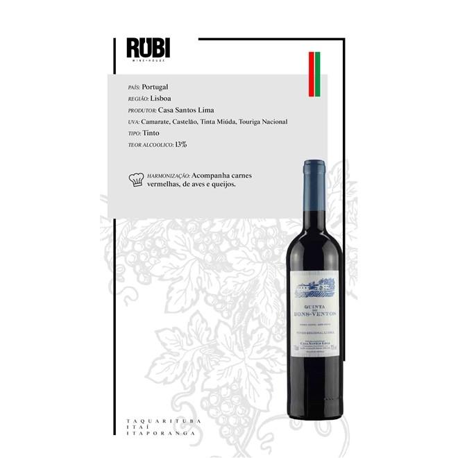 Vinho Tinto Portugues Quinta De Bons Ventos 2018 750 ml