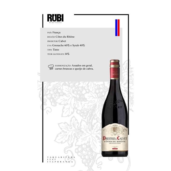 Vinho Tinto Prestige de Calvet Cotes du Rhone 2017 750ml