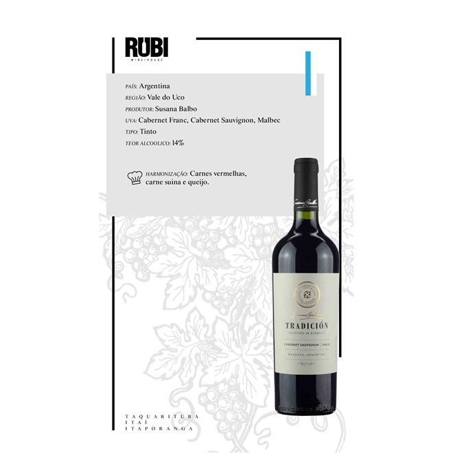 Vinho Tinto Susana Balbo Tradicion Cabernet Sauvignon 750ml