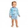 Conjunto Bebê Tubarão Camiseta + Sunga c/ Proteção UV 50+ Azul Everly