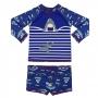 Conjunto Bebê Tubarão Camiseta + Sunga c/ Proteção UV 50+ Marinho Everly
