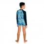 Conjunto Infantil Safari Camiseta + Sunga c/ Proteção UV 50+ Azul Everly