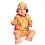 Maiô Recém Nascido Safari c/ Botão Proteção UV 50+ Amarelo Everly