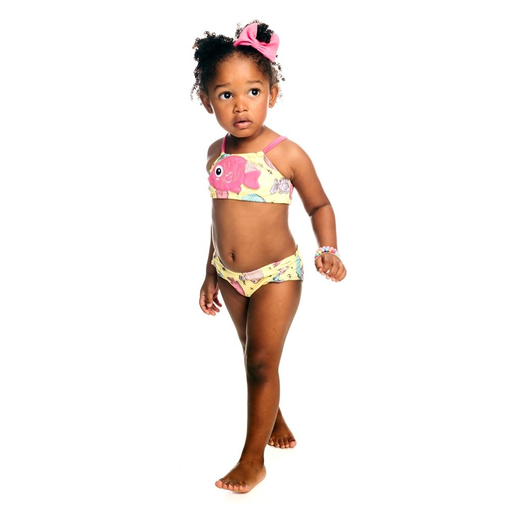 Biquíni Bebê Peixinhos c/ Proteção UV 50+ Amarelo Everly