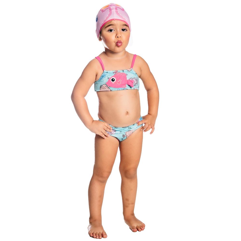 Biquíni Bebê Peixinhos c/ Proteção UV 50+ Azul Everly