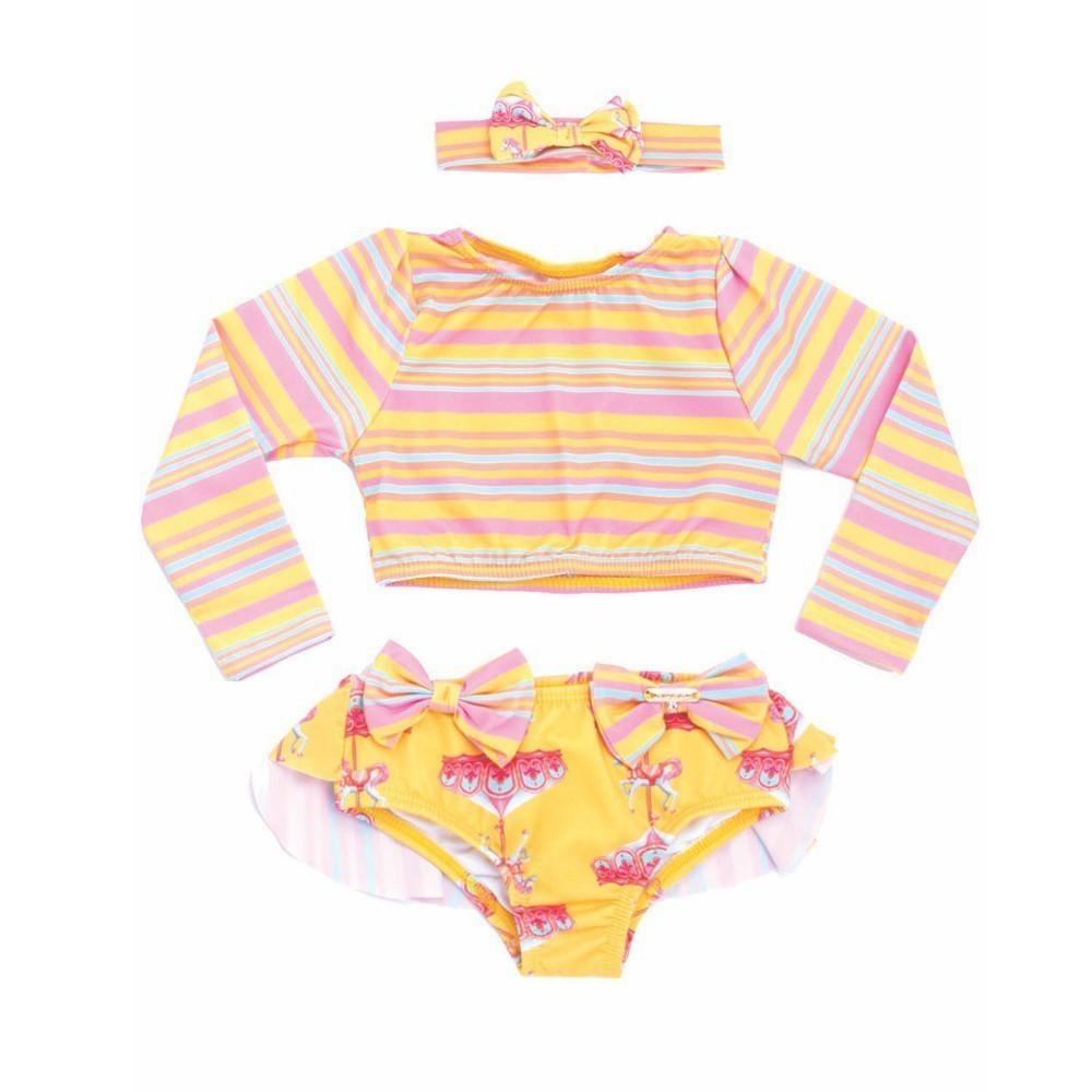 Biquíni Cropped Bebê Carrossel c/ Faixa UV 50+ Everly- 02 unidades