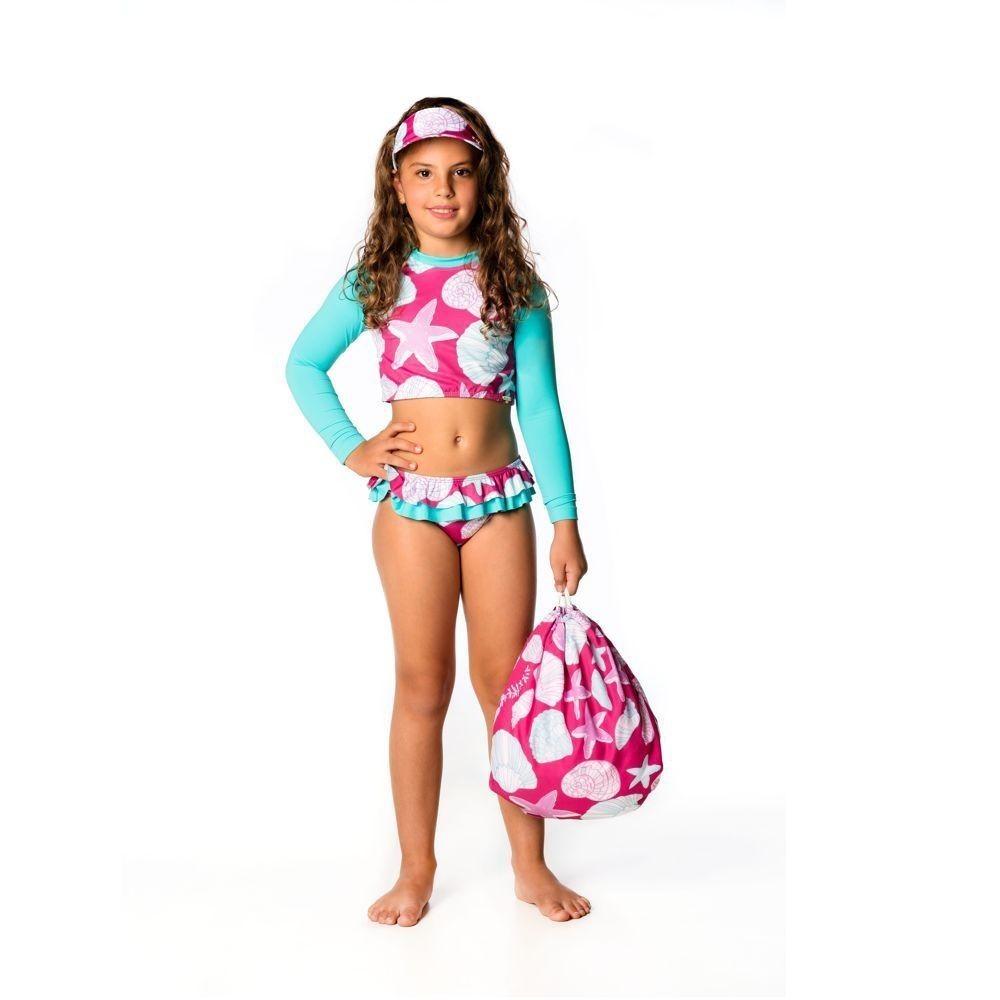 Biquíni Infantil Cropped Fundo do Mar UV 50+ Everly
