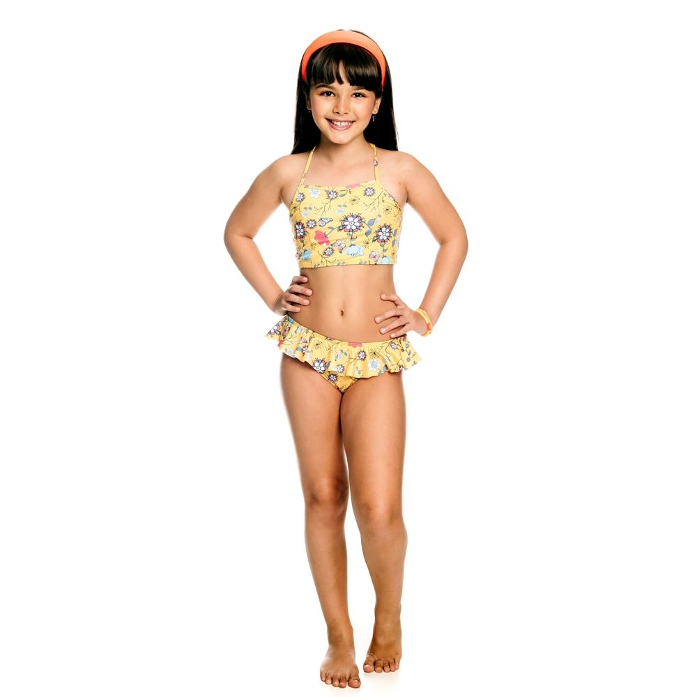Biquíni Infantil Floral c/ Proteção UV 50+ Amarelo Everly