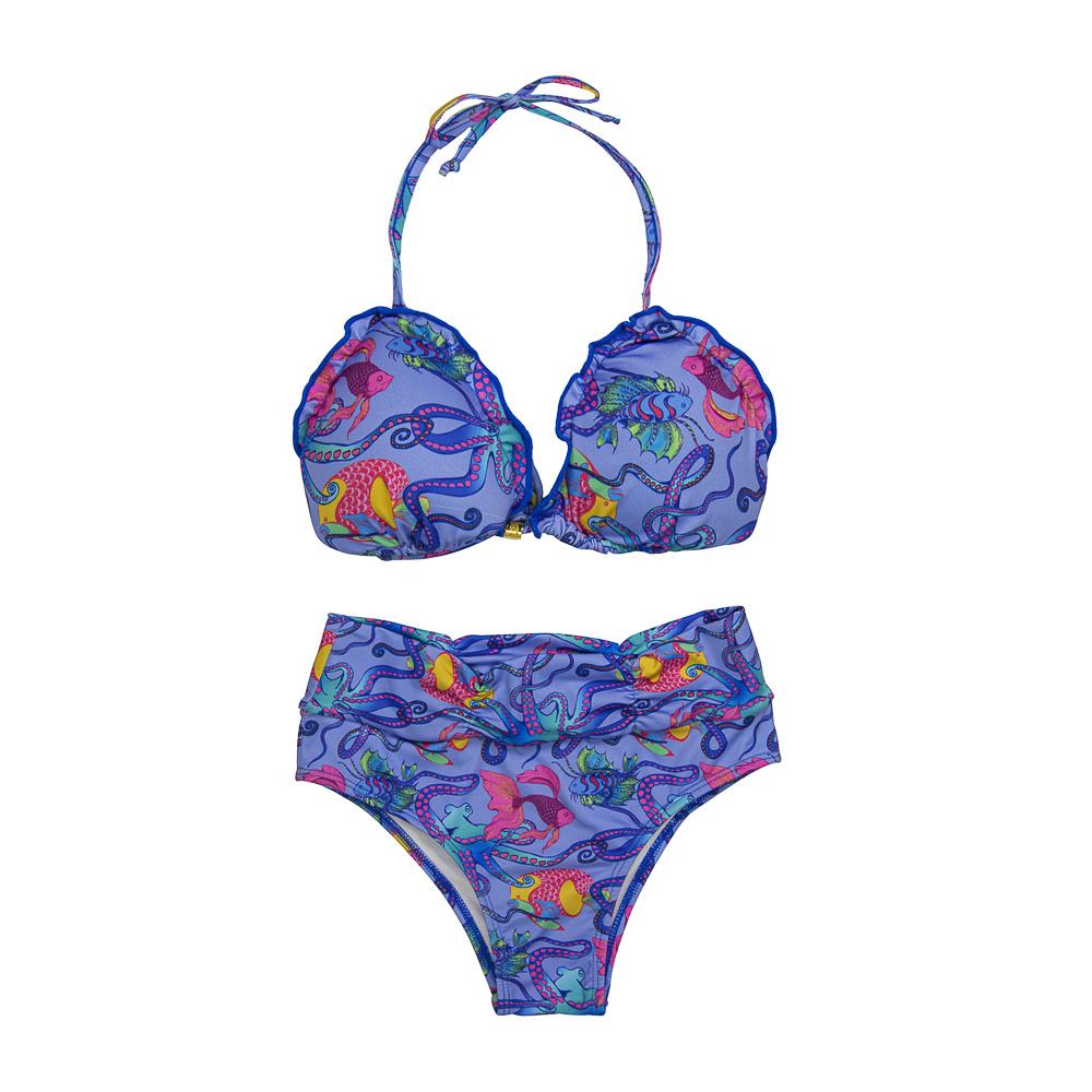 Biquíni Juvenil Oceano Bojo Removível c/ Proteção UV 50+ Lilás Everly