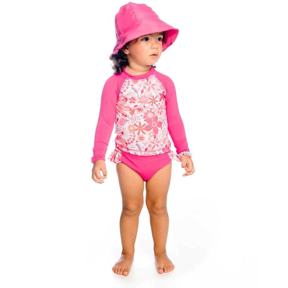 Body Bebê Jardim c/ Proteção UV 50+ Pink Everly