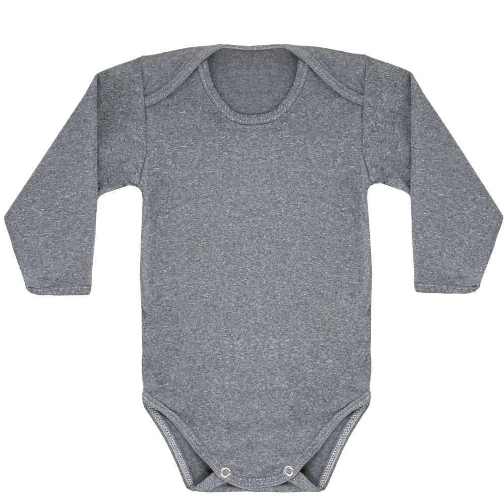Body Térmico Liso Bebê Tecnologia Thermo Dry Cinza Everly