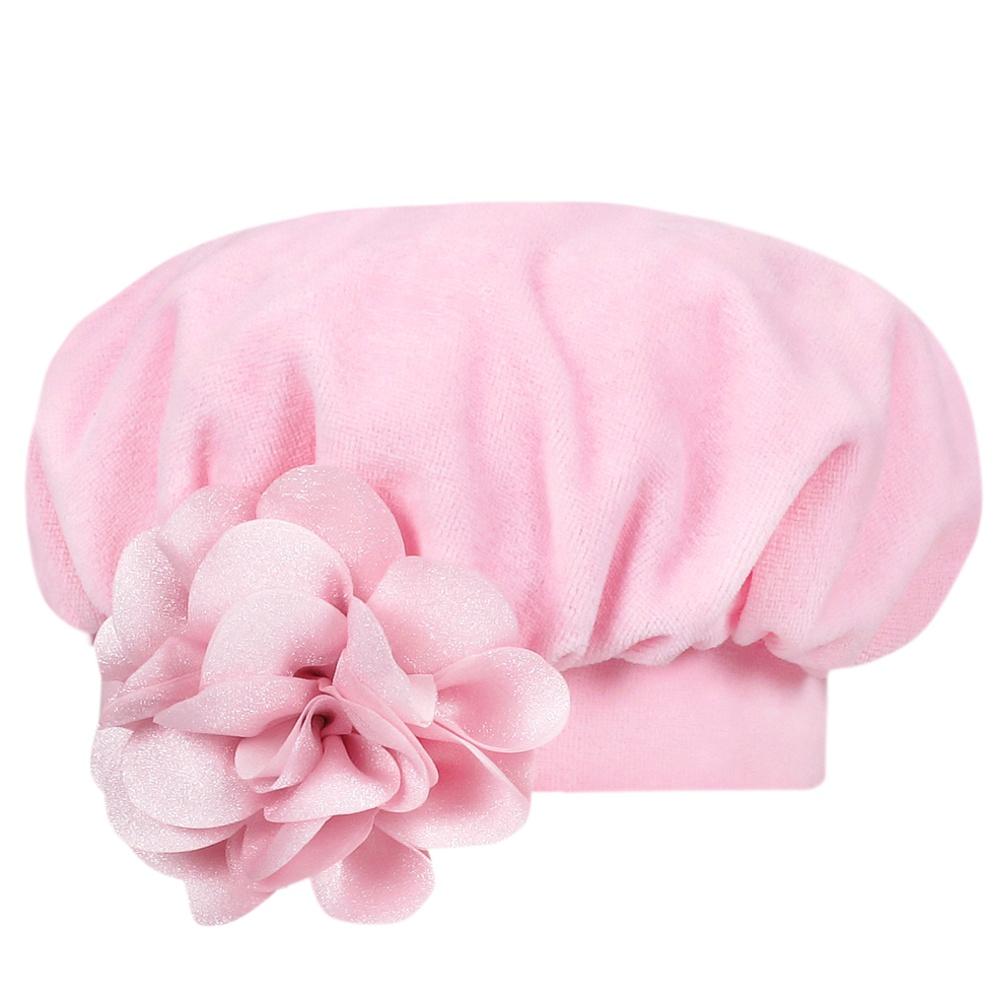 Boina Bebê c/ Punho e Flor Plush Rosa Everly