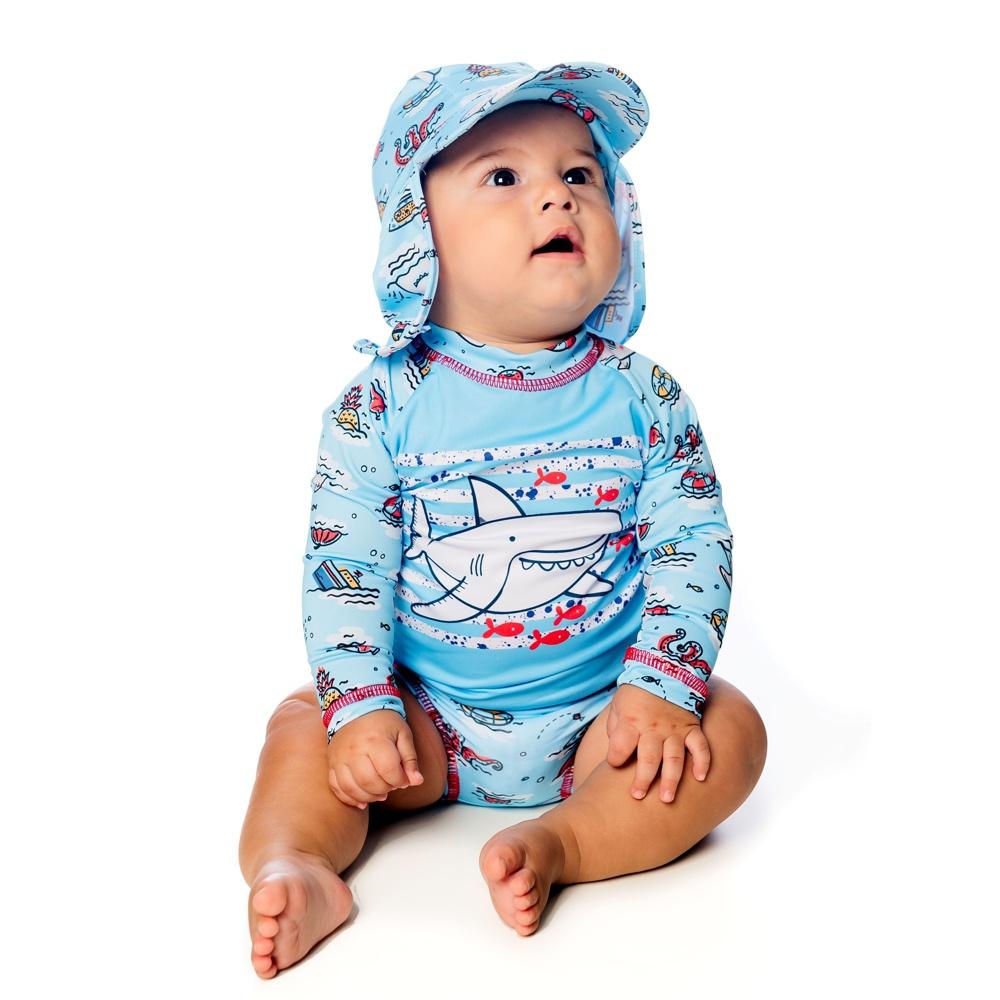 Boné Recém Nascido Tubarão c/ Protetor de Pescoço UV 50+ Azul Everly