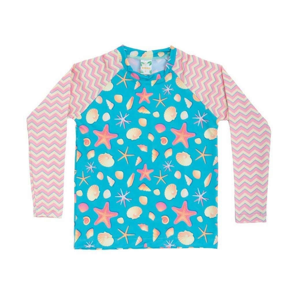 Camiseta Manga Longa Infantil Fundo do Mar UV 50+ Everly