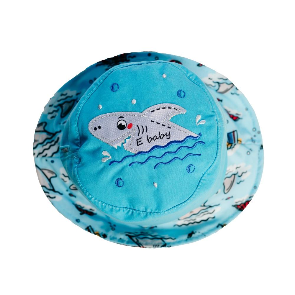 Chapéu Bebê Tubarão c/ Proteção UV 50+ Azul Everly