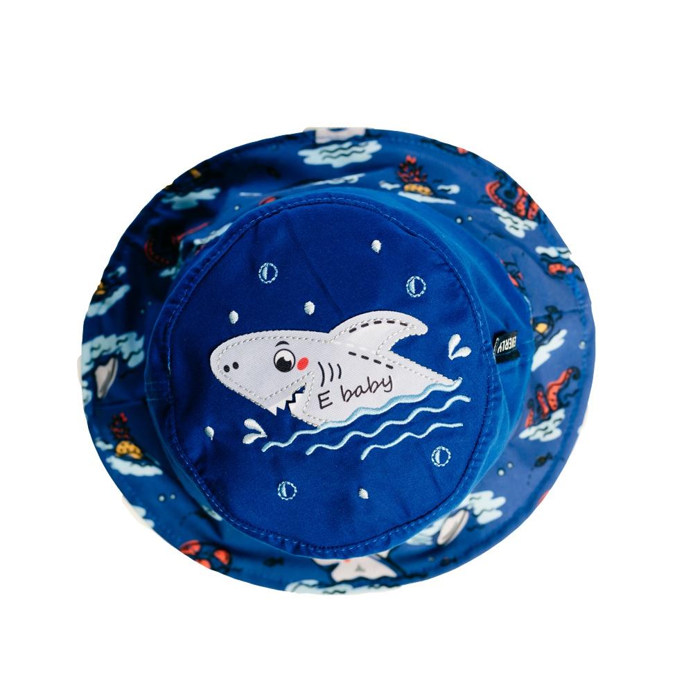 Chapéu Bebê Tubarão c/ Proteção UV 50+ Marinho Everly