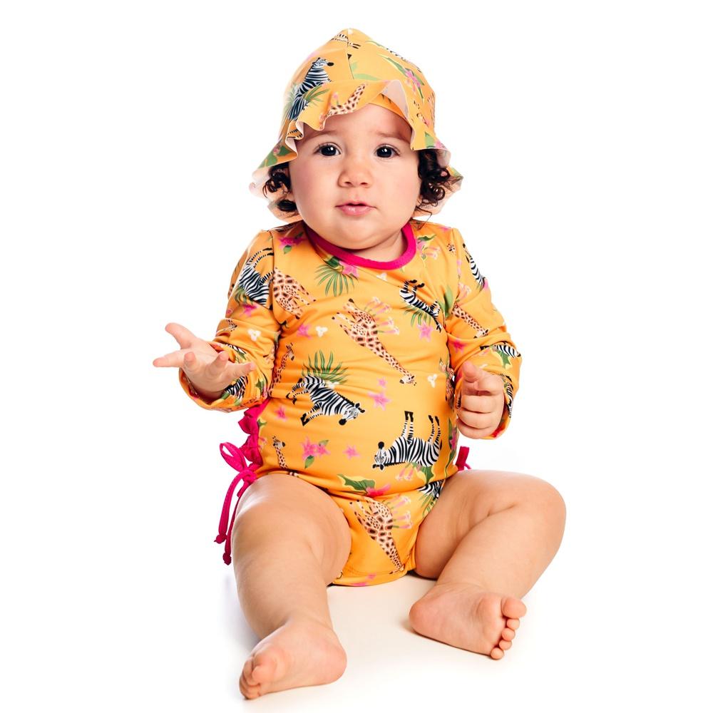 Chapéu Safari c/ Proteção UV 50+ Recém Nascido Amarelo Everly