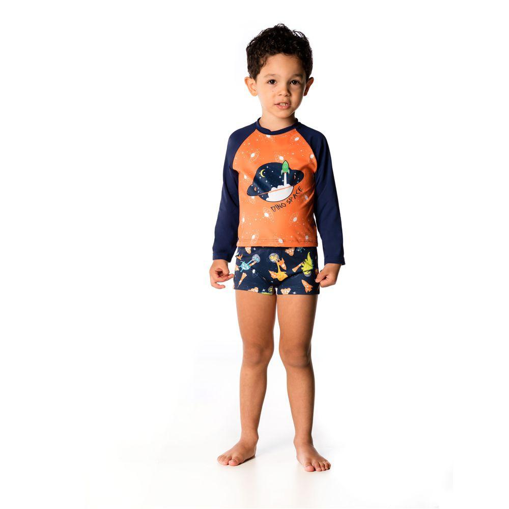 Conjunto Bebê Camiseta + Boxer Dino Space UV 50+ Everly