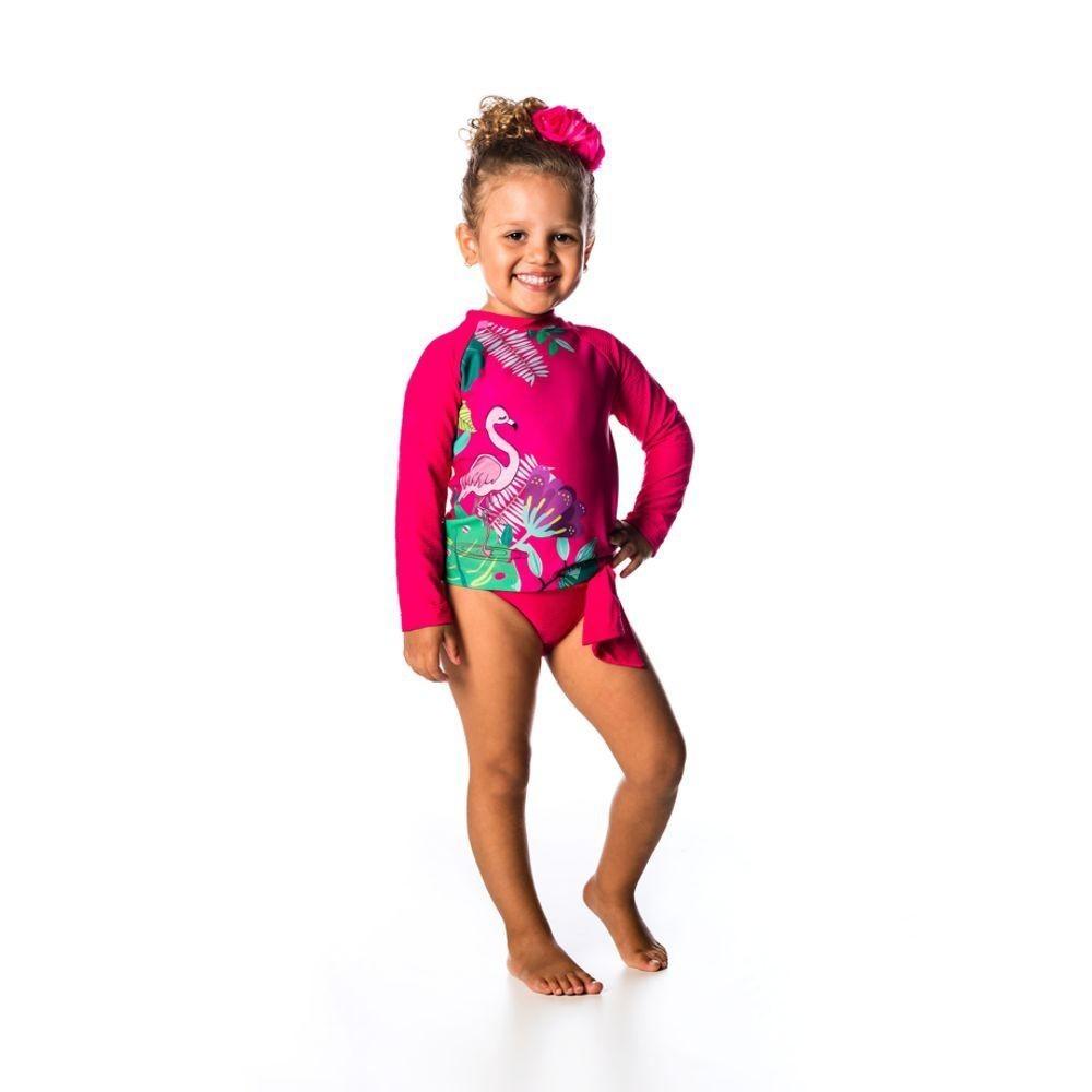 Conjunto Bebê Camiseta + Calcinha Flamingo UV 50+ Everly