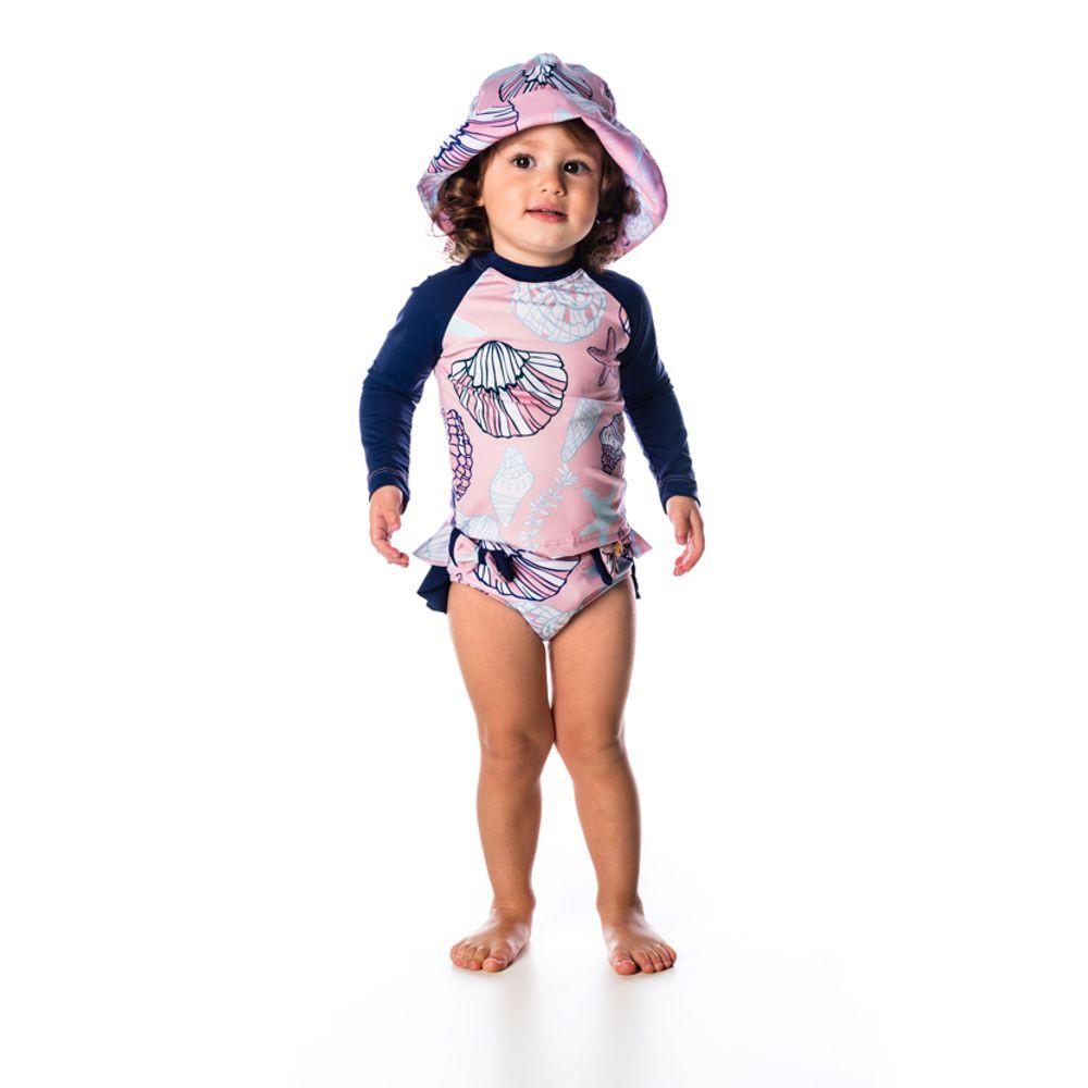 Conjunto Bebê Camiseta + Calcinha Fundo do Mar UV 50+ Everly