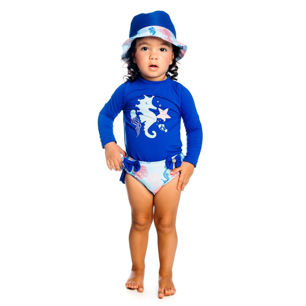 Conjunto Bebê Cavalo Marinho Camiseta + Calcinha c/ Proteção UV 50+ Azul Everly