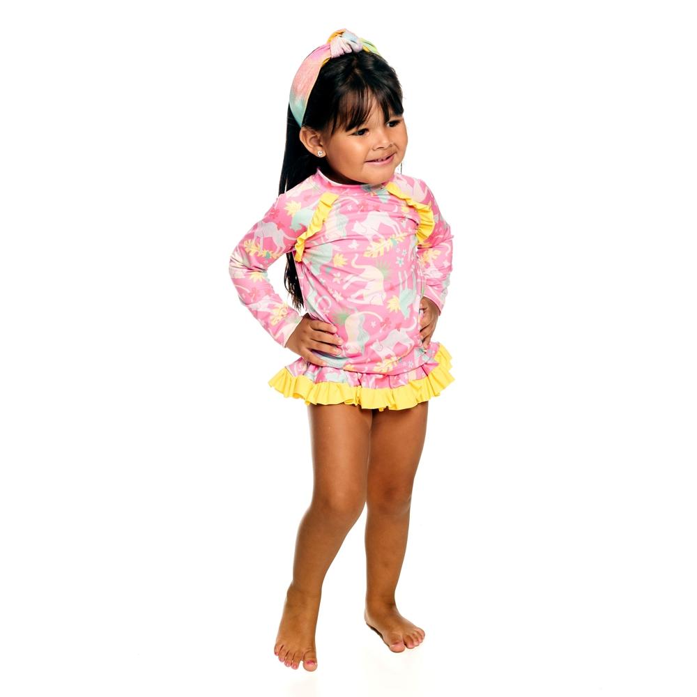 Conjunto Bebê Oncinha Camiseta + Calcinha c/ Proteção UV 50+ Rosa Everly
