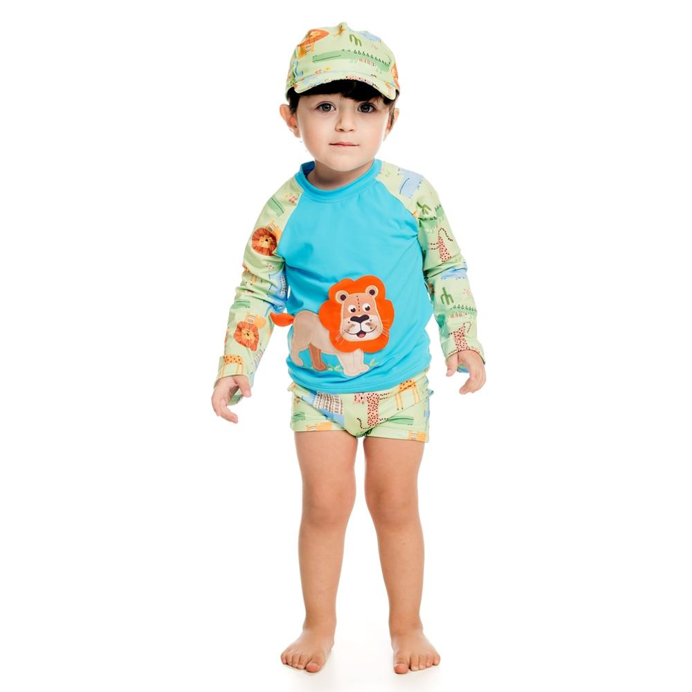 Conjunto Bebê Safari Camiseta + Sunga c/ Proteção UV 50+ Verde Everly