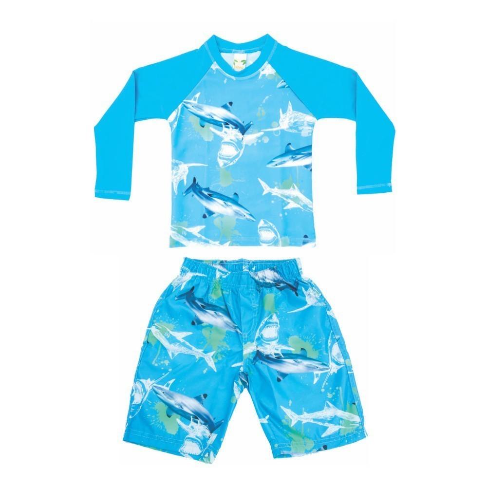 Conjunto Camiseta + Bermuda Infantil Tubarão UV 50+ Everly