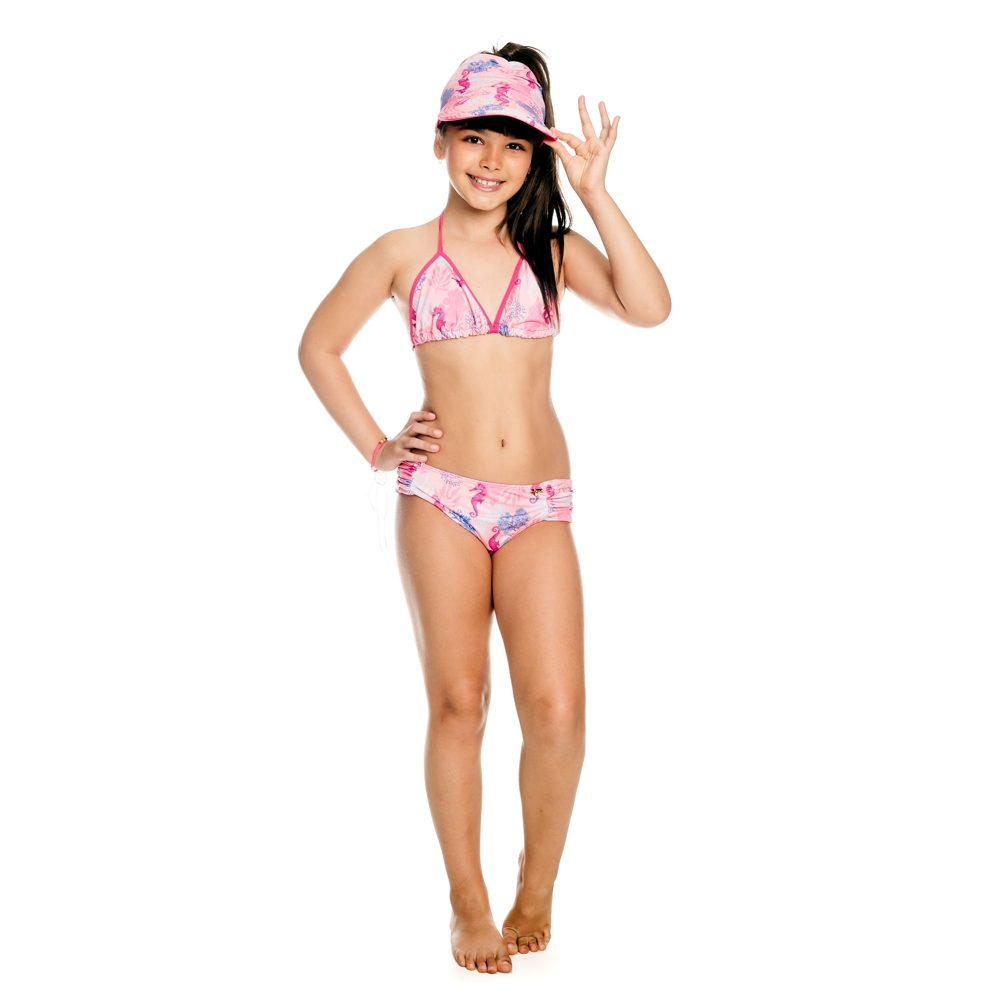 Conjunto Infantil Biquíni + Cropped Rosa 3 peças c/ Proteção UV 50+ Everly