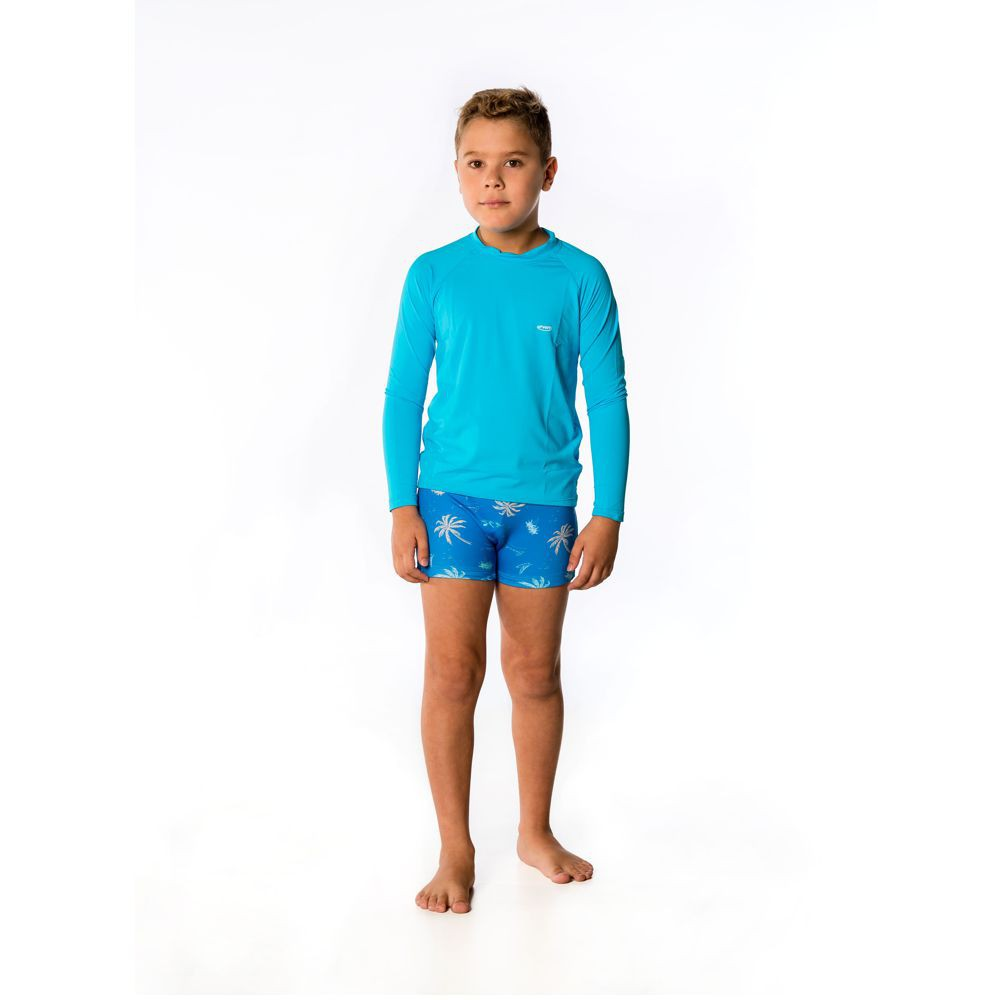 Conjunto Infantil Camiseta Lisa + Sunga Estampada UV 50+ Everly