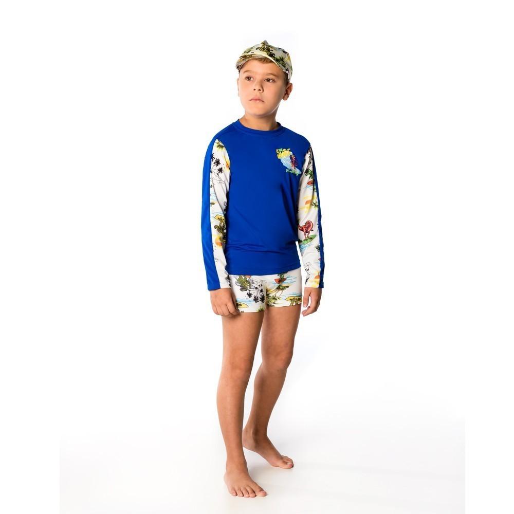 Conjunto Infantil  Camiseta + Sunga Boxer Dinossauro UV 50+ Everly