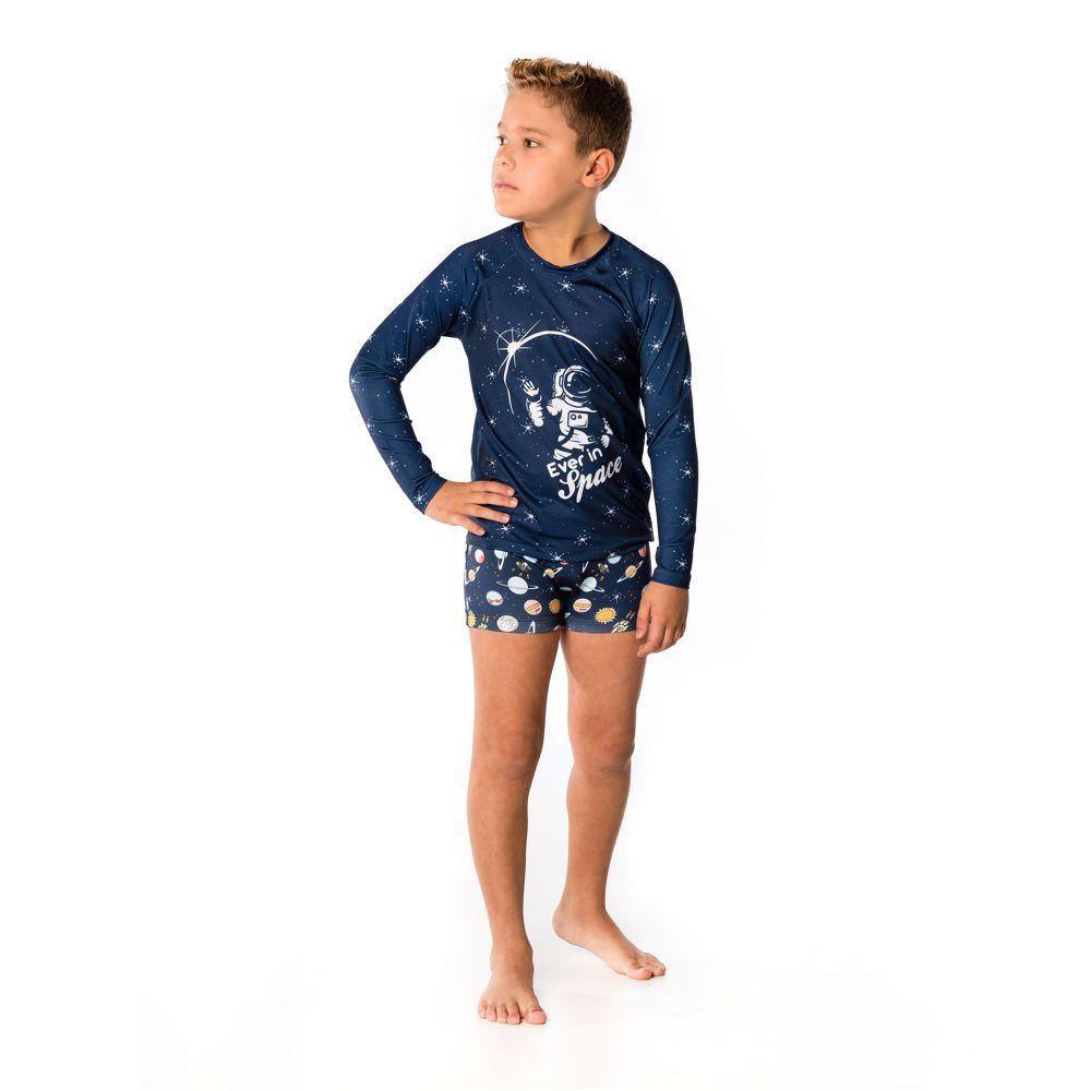 Conjunto Infantil  Camiseta + Sunga Boxer Space UV 50+ Everly