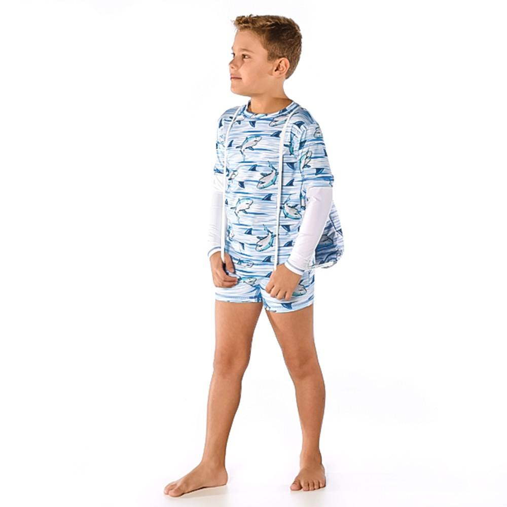 Conjunto Infantil Camiseta + Sunga Boxer Tubarão UV 50+ Everly