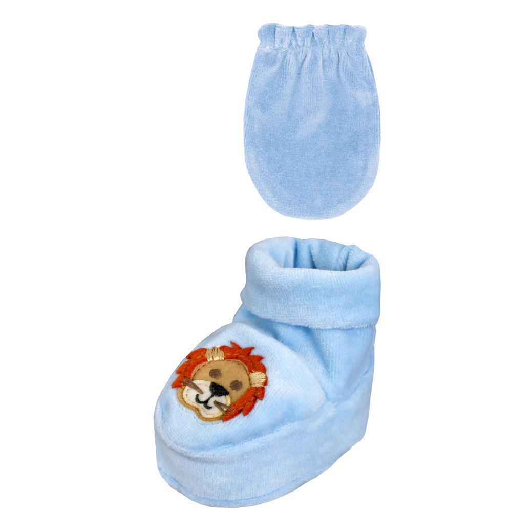 Conjunto Luva e Sapatinho Recém Nascido Leão Azul Everly- 2 peças