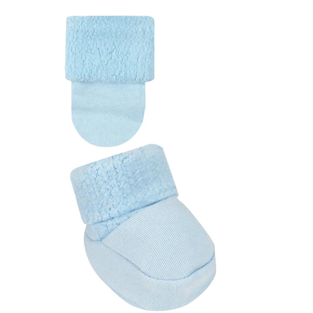 Conjunto Luva e Sapatinho Recém Nascido Liso Azul Everly- 2 peças
