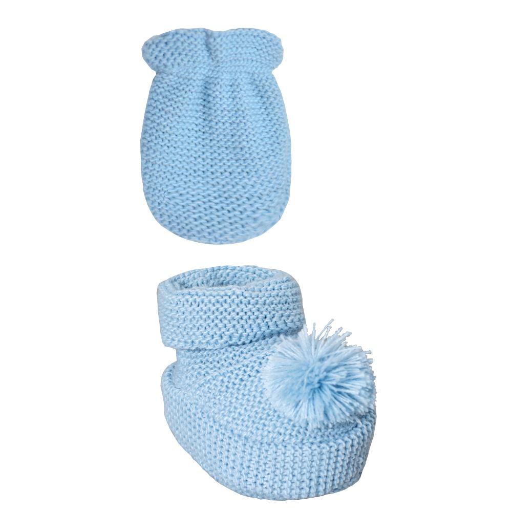 Conjunto Luva e Sapatinho Recém Nascido Tricot Pompom Azul Everly- 2 peças