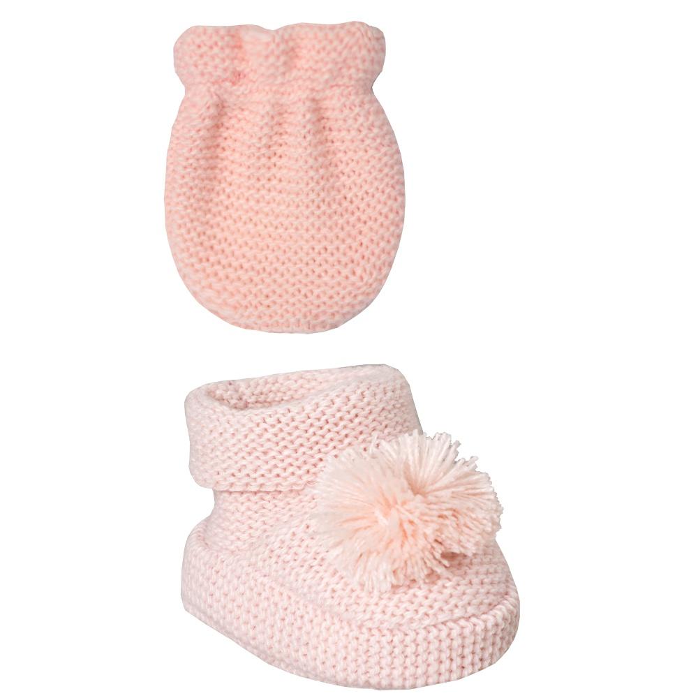 Conjunto Luva e Sapatinho Recém Nascido Tricot Pompom Rose Everly- 2 peças