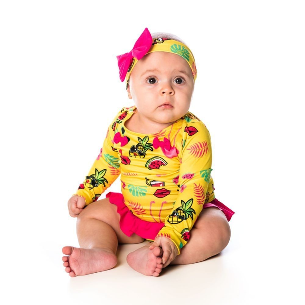 Conjunto Recém-Nascido Camiseta + Calcinha + Faixa UV 50+ Tropical  Everly
