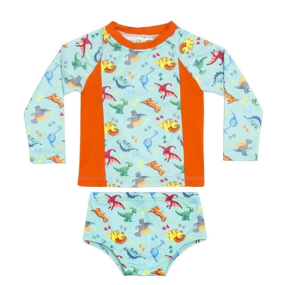 Conjunto Camiseta + Sunga Recém Nascido Dinossauros UV 50+
